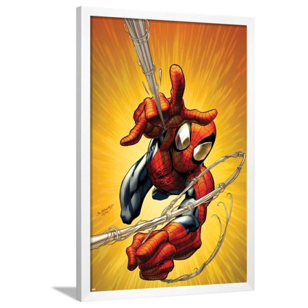 Spider Man Shooting Webs (Ultimate Spider-Man No.160 Cover: Spider-Man Shooting Web Framed Poster Wall Art By Mark)