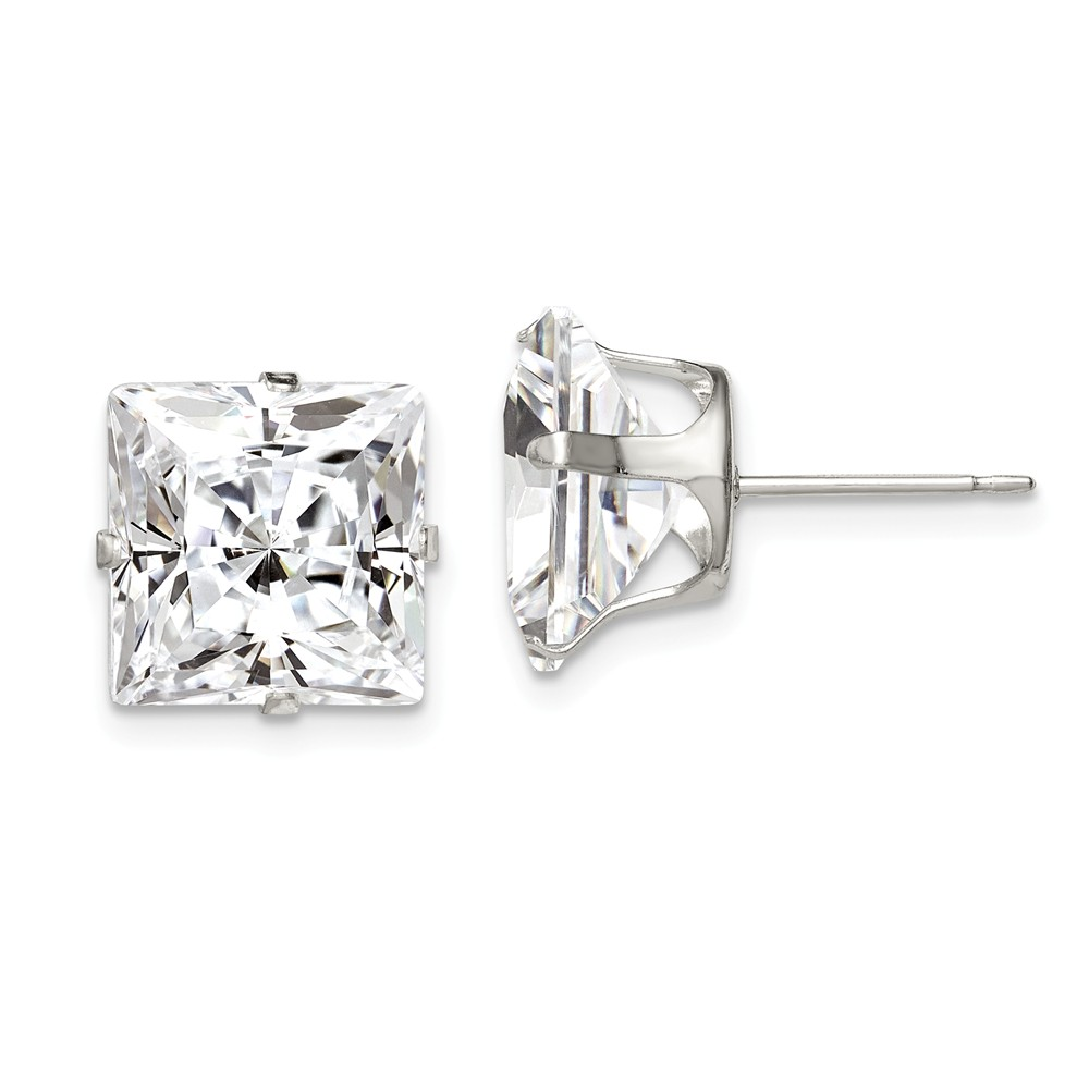 Sterling Silver 10mm Square CZ 4 Prong Stud Earrings.