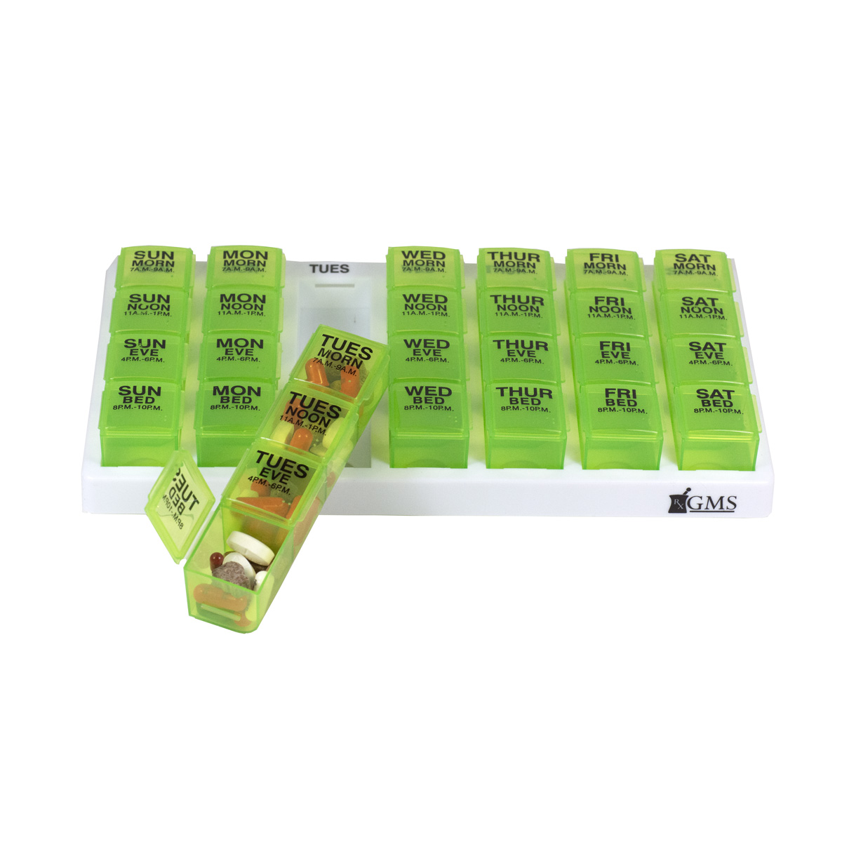 4x/Day GMS Brand Pill Organizer with Push Out Daily Pods - Green