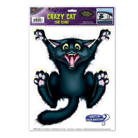 Pack of 12 Black Crazy Cat Car Window Cling Halloween Decorations