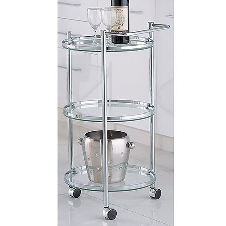 - Neu Home Round Bar and Serving Cart, Chrome