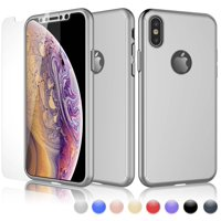iPhone XS Max Case, Sturdy Case For iPhone XS Max, iPhone XS Max Screen Protector, Njjex Ultra Thin Hard Slim Case Full Protective With Tempered Glass Screen Protector Case Cover -Rose Gold