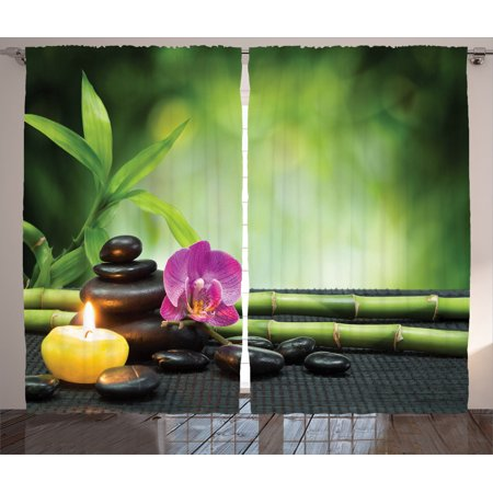 Spa Decor Curtains 2 Panels Set, Orchid Bamboo Stems Chakra Stones Japanese Alternative Feng Shui Elements Therapy Design, Living Room Bedroom Accessories, By Ambesonne ()