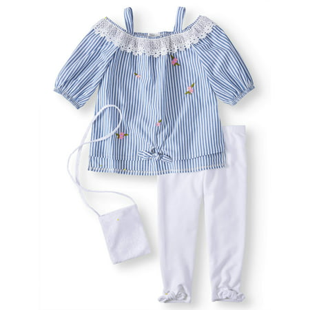 Hobo Outfit (Embroidered Shirting Tunic and Legging, 2-Piece Outfit Set with Purse (Little)