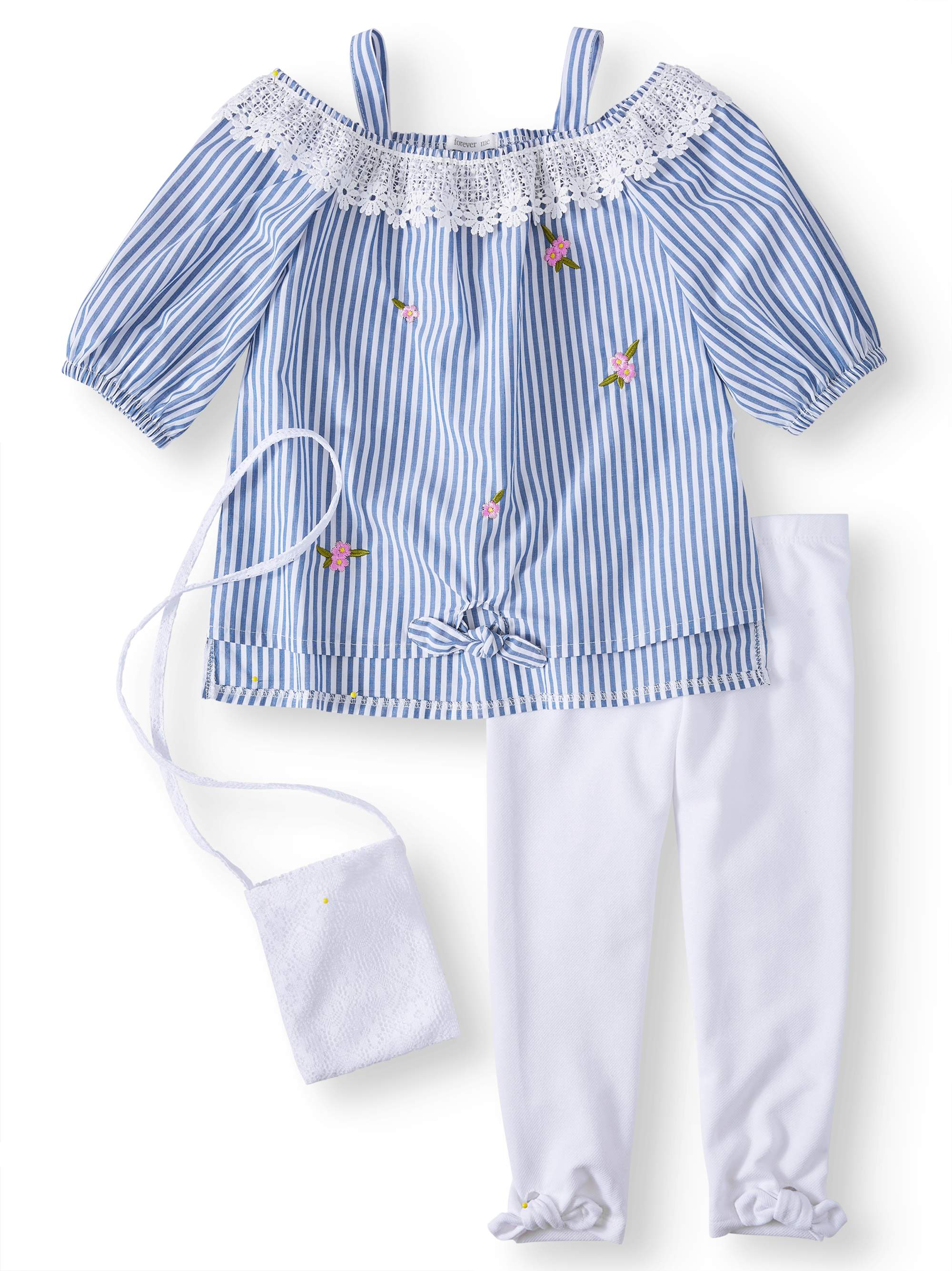 Embroidered Shirting Tunic and Legging, 2-Piece Outfit Set with Purse (Little Girls)