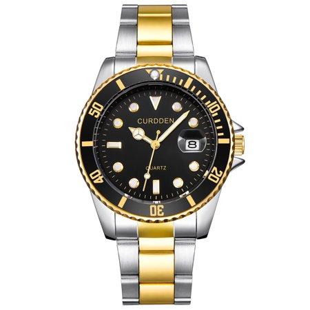 Tuscom CURDDE Men Fashion Military Stainless Steel Date Sport Quartz Analog Wrist Watch