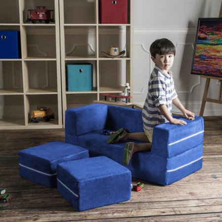Stupendous Jaxx Zipline Modular Kids Loveseat With Ottomans Lime Andrewgaddart Wooden Chair Designs For Living Room Andrewgaddartcom