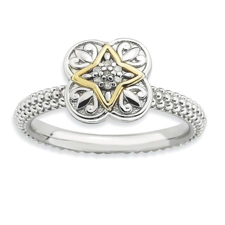 Jewelry & Watches 925 Sterling Silver Stackable Expressions Diamond Flower Ring S:7 A Great Variety Of Goods Fine Rings