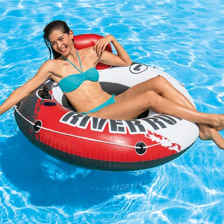 Intex River Run 1 53u0022 Inflatable Floating Water Tube Lake Pool Ocean Raft, Red