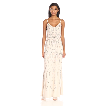 Adrianna Papell Beaded Blouson Gown - Ivory/Multi from $229.99 - Nextag