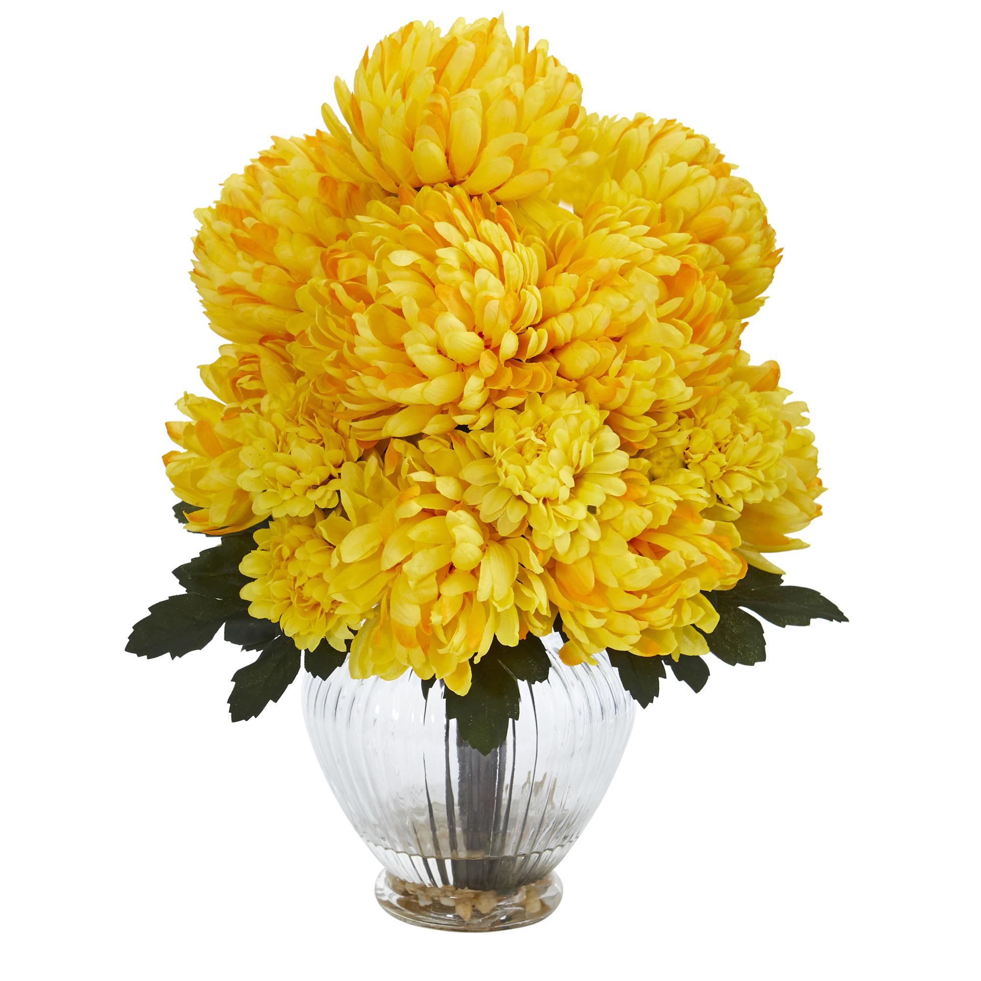Nearly Natural Mum Artificial Arrangement in Vase