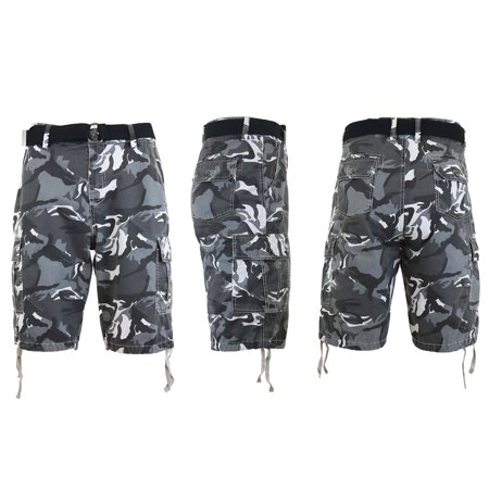 (Mens Distressed Belted Cotton Cargo Shorts)