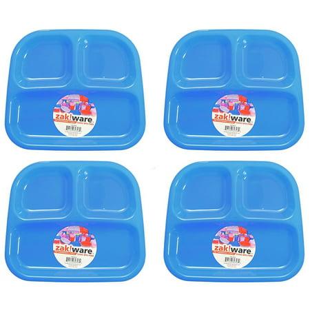 Zack (4 Pack) Kids 3-Section Divided Plate BPA Free Plastic Reusable Dinner Divider Tray - Plastic Divider Plates