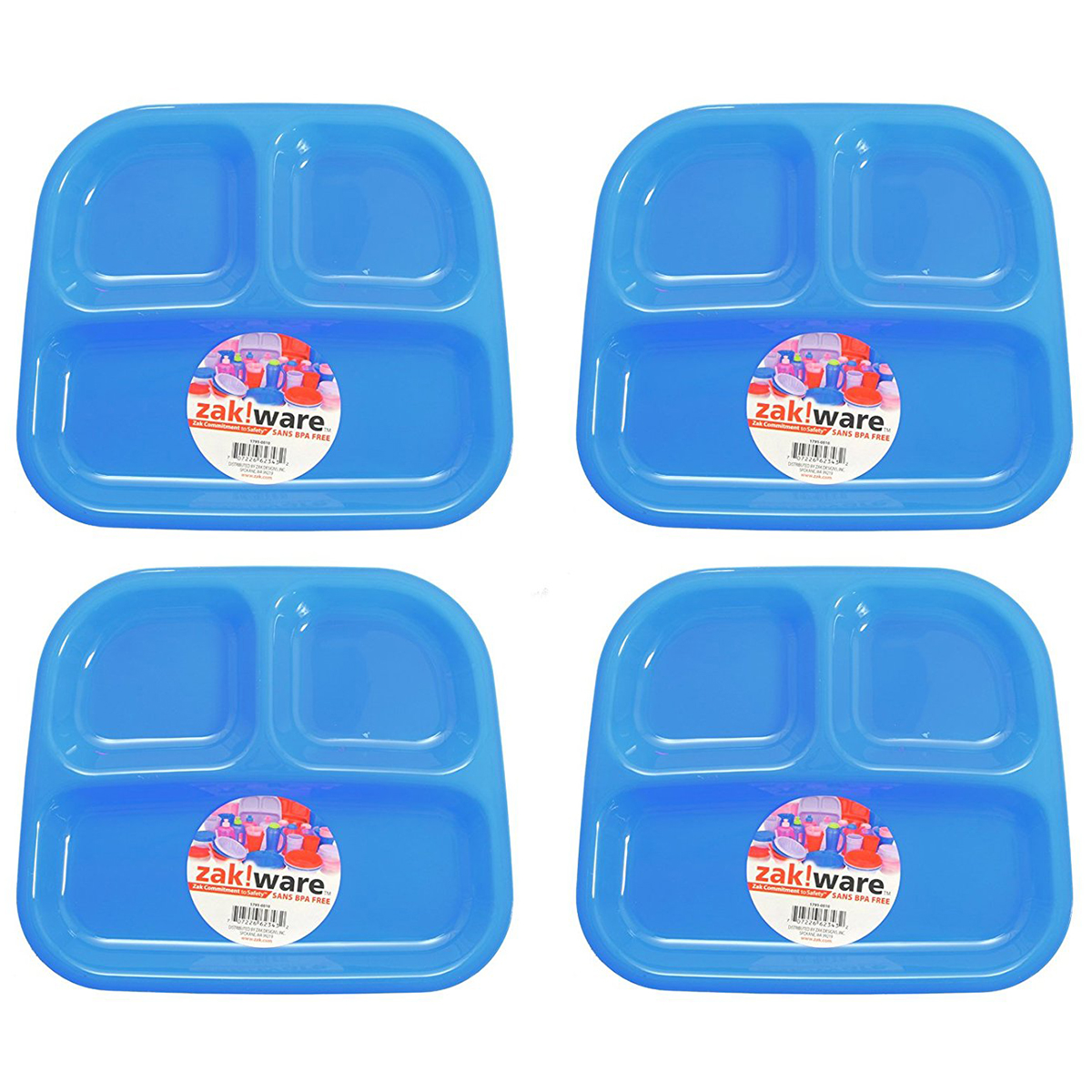Zack (4 Pack) Kids 3-Section Divided Plate BPA Free Plastic Reusable Dinner Divider Tray