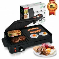 NutriChef PKGRIL43 Electric Griddle Crepe Maker Hot Plate Cooktop w/ Press Grill