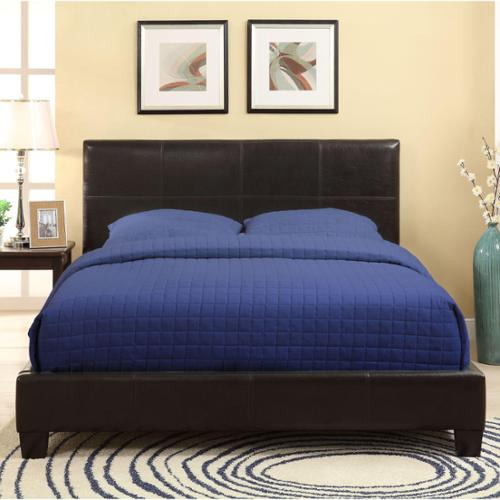 Square Platform Synthetic Leather Upholstery Bed Frame Full