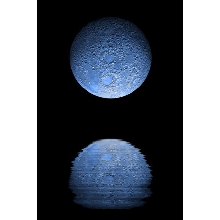 Artists depiction of a heavily cratered blue moon rising over a body of calm water Canvas Art - Marc WardStocktrek Images (12 x 18)