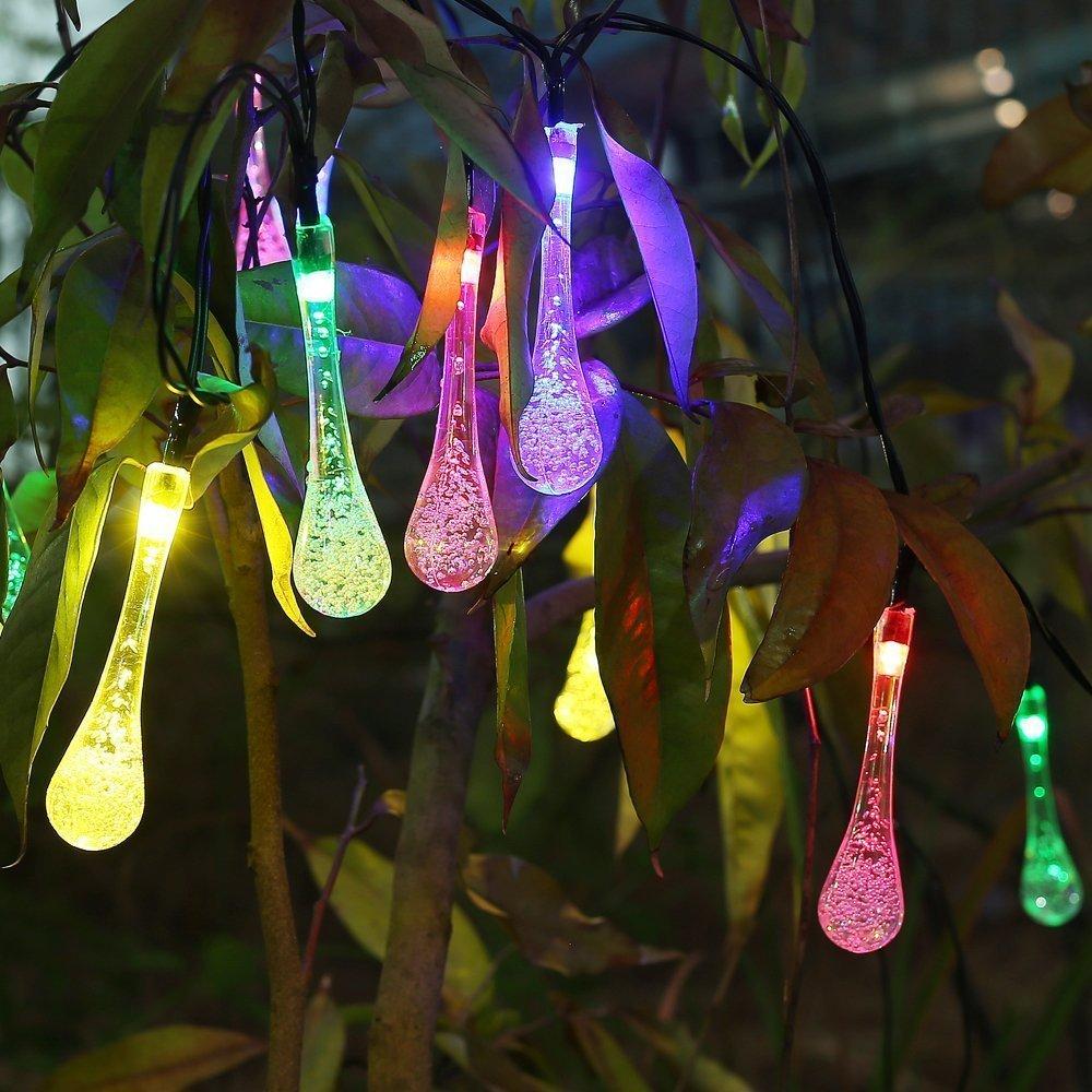 Jesiya Solar Outdoor String Lights,20 Led Icicle Globe,Pa...