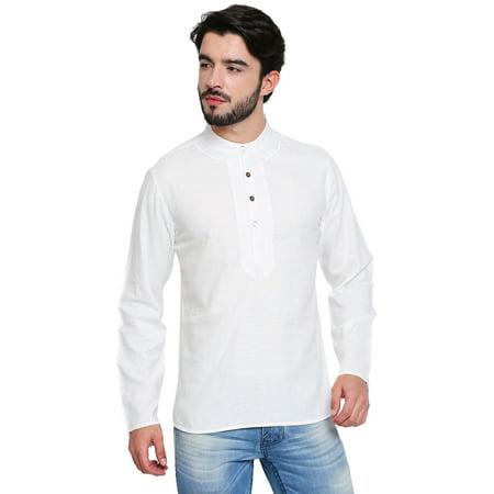 Shatranj Men's Banded Collar Shirt-Length Classic Kurta Tunic With Embroidery