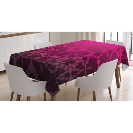Magenta Decor Tablecloth, Victorian Stylized Classical Bound Ornamental Mosaic Patterns Nostalgic Design, Rectangular Table Cover for Dining Room Kitchen, 52 X 70 Inches, Rosewood, by Ambesonne