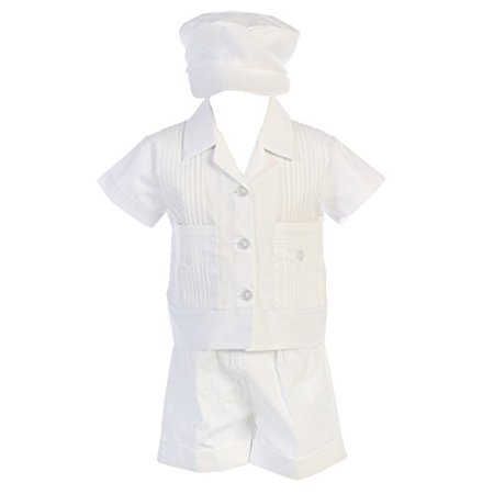 Lito Boys Poly Cotton Pintuck Shirt and Shorts Christening Baptism Outfit (6-12 mo) - image 1 de 1