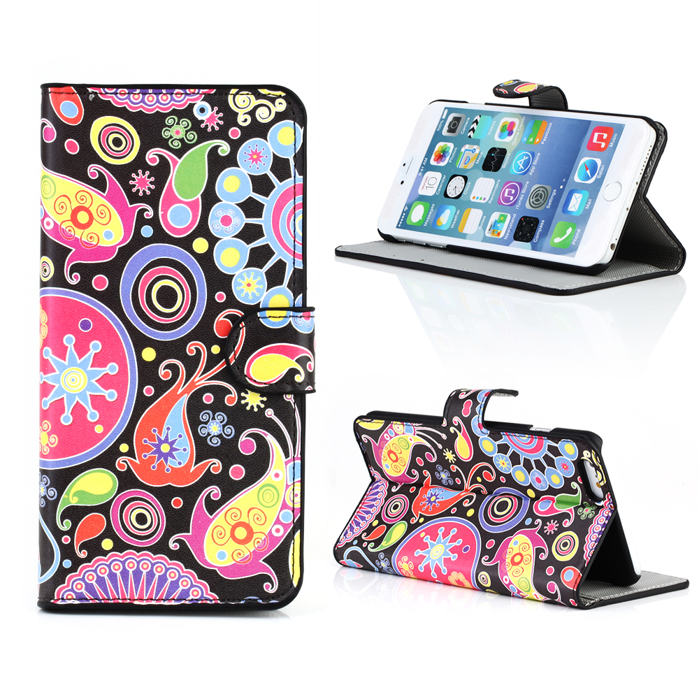 KMO Apple iPhone 6 Plus / 6S Plus Case Cover Premium PU Leather Book Folio Wallet Flip With Card Slots Protection - Multicoloured / Black Retro Flowers