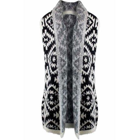 Knit Aztec Print Kimono Vest Cardigan - Walmart.com