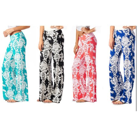 Floral Palazzo Pants, Multiple Colors, - Disco Pants Blue