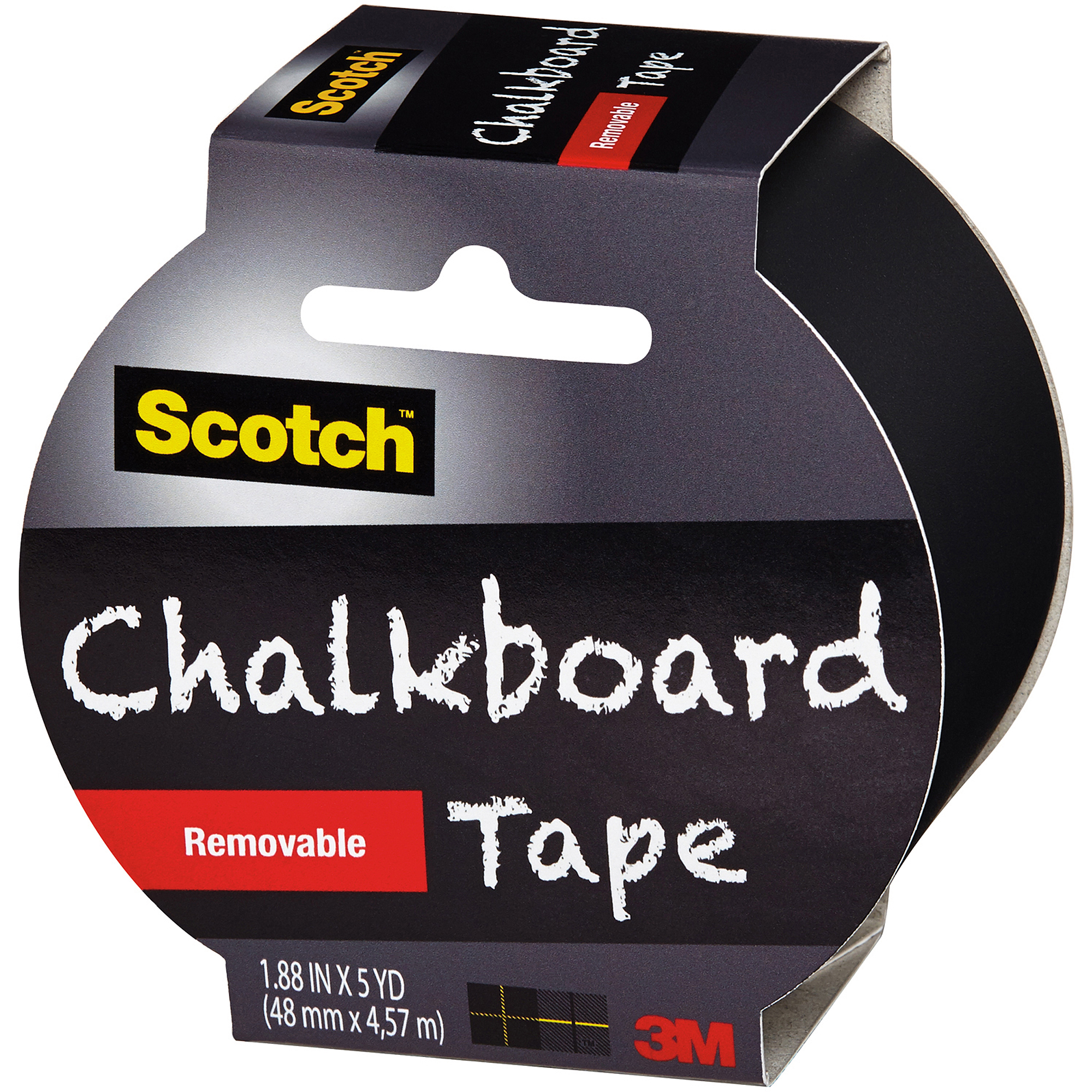 "Scotch Chalkboard Tape, 1.88"" x 5 yd, Black"