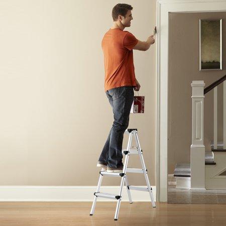 Finether 3 2 ft High Aluminum Folding Double Sided Step Ladder EN 131
