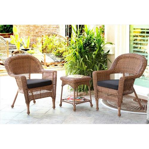 Jeco W00205_2-CES017 3 Piece Honey Wicker Chair And End Table Set With Black Chair Cushion