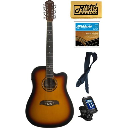 Oscar Schmidt 12 String Sunburst Acoustic/Elec Guitar Bundle, OD312CETS PACK2 ()