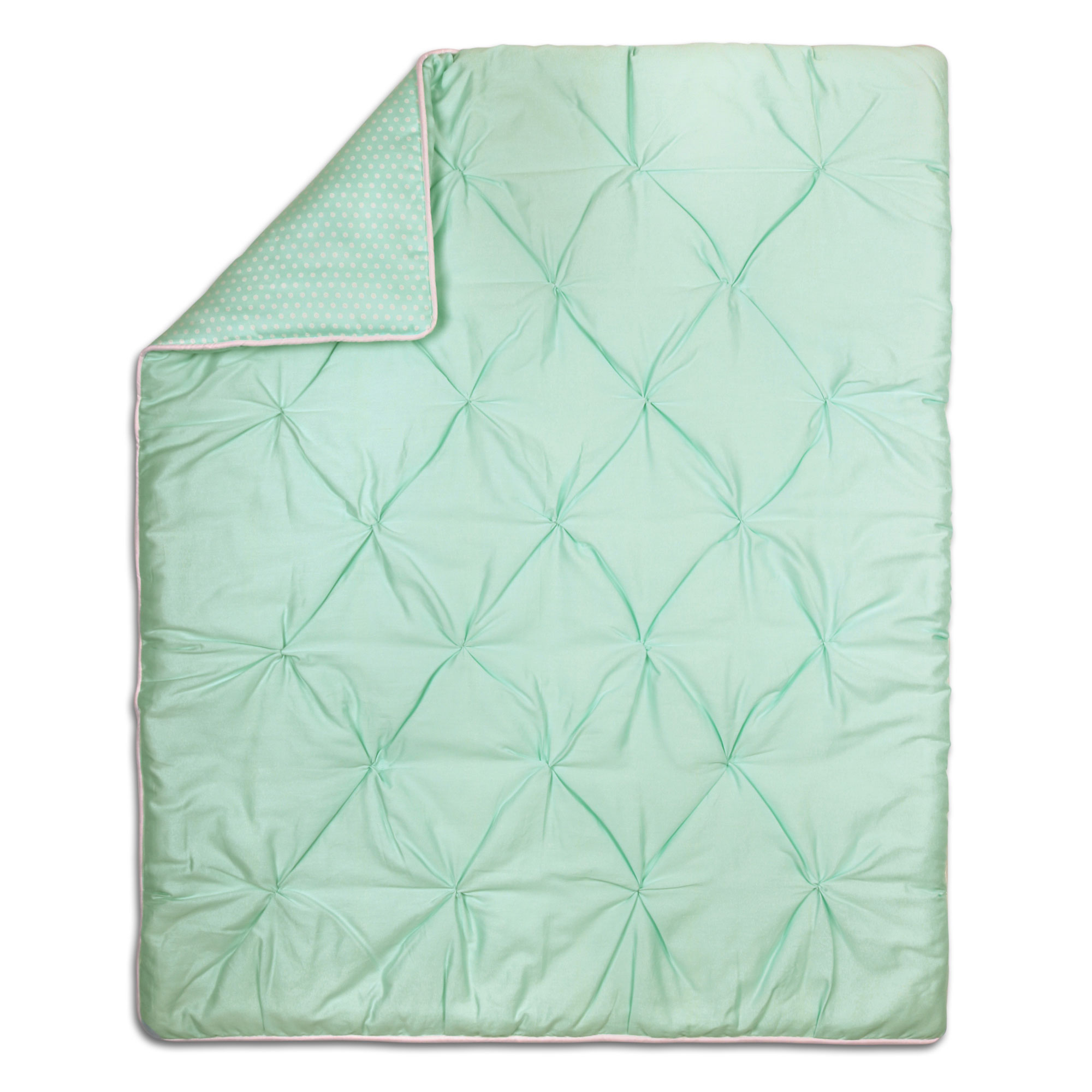The Peanut Shell Baby Crib Quilt Mint Green Pintucked and Dots Print 100% Cotton Sateen Fabrics, 44 by 37... by The Peanut Shell