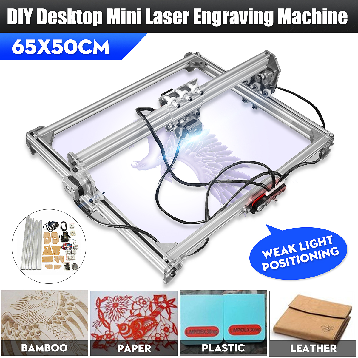 """20""""X26"""" DC 12V DIY Desktop Mini Laser Engraving Cutting Machine Printer Kit CNC Engraver"""