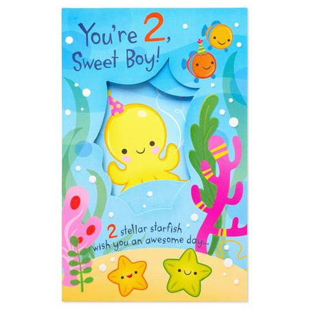 American Greetings Under The Sea 2nd Birthday Card For Boy With Glitter