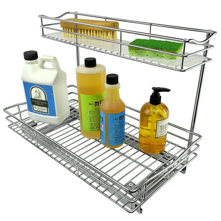Lynk Professional® Slide Out Under Sink Cabinet Organizer - Pull Out Two Tier Sliding Shelf - 11.5 in. wide x 18 inch deep - Chrome
