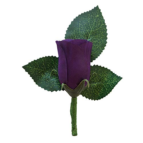 Mauve Purple  Rose with Ivory ribbon Men/'s Boutonniere Bacelor Party Fathers Wedding Flowers Groomsman Gifts Silk Flower Boutonniere