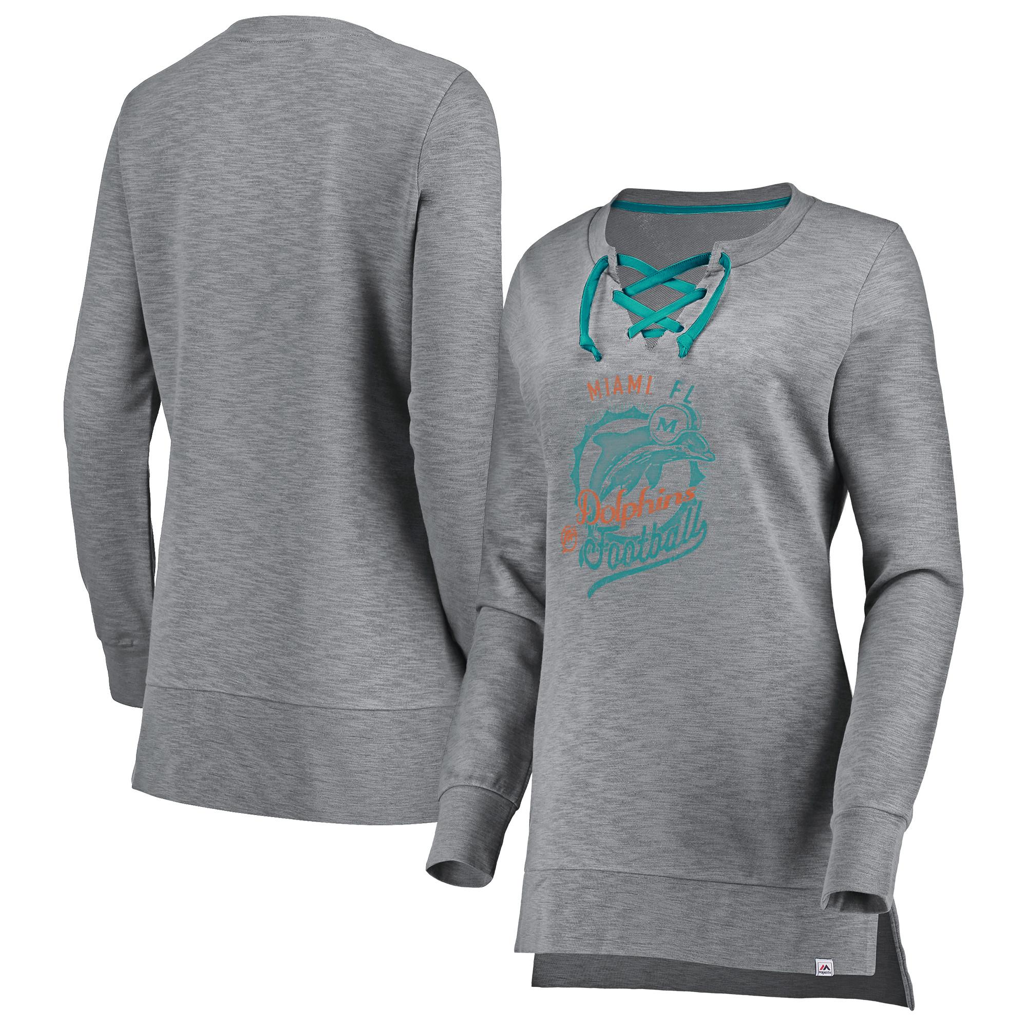 Miami Dolphins Majestic Women's Historic Hyper Lace-Up Tunic Sweatshirt - Heathered Gray