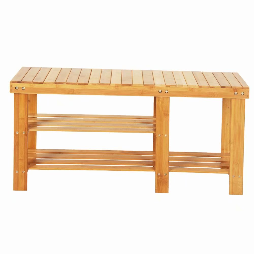 90cm Strip Pattern Tiers Bamboo Stool Shoe Rack with Boots Compartment Wood Color