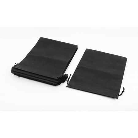 Unique Bargains Non-woven Fabric Dust Cover Storage Shoes Sack Drawstring Bag for Clothes Shoes Black