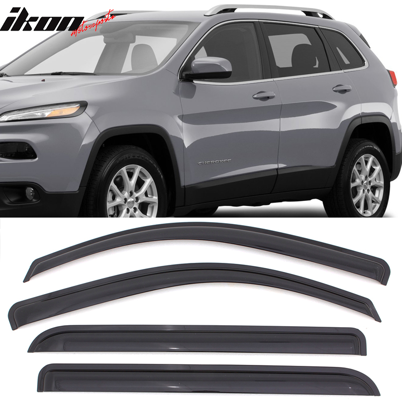 Fits 14-18 Jeep Cherokee Acrylic Window Visors 4Pc Set