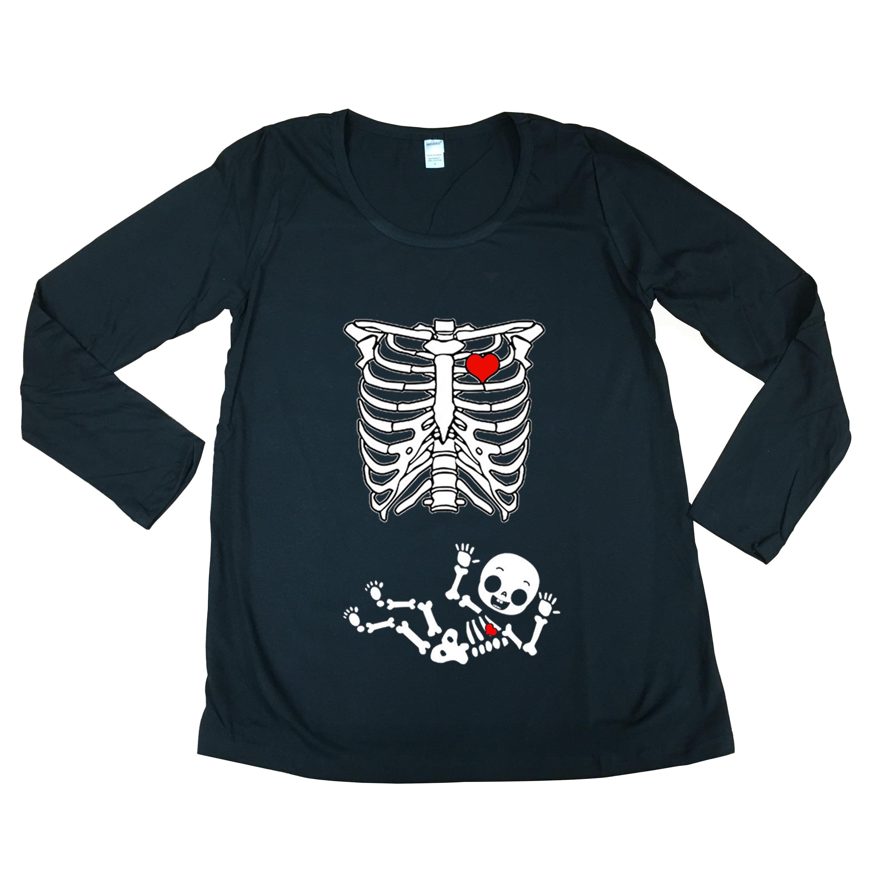Long Sleeve Baby Boy Skeleton Heart Mommy Future Mom Maternity DT T-Shirt Tee