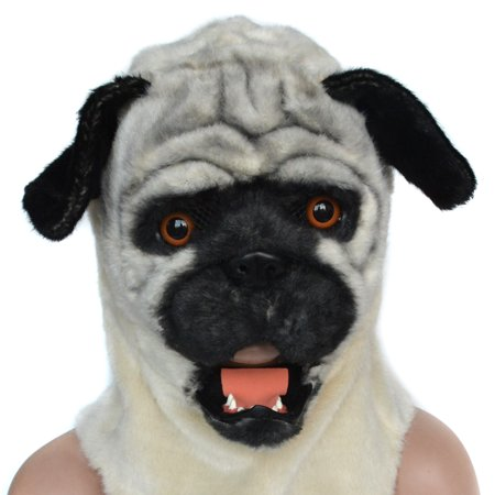 HOMCOM Pug Dog Costume Mouth Mover Halloween / Cosplay Mask