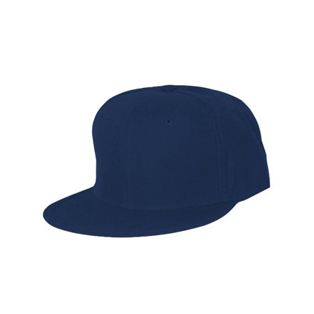- Plain Fitted Flat Bill Hat - Navy