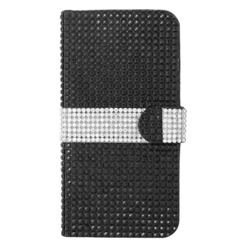 iPhone 6s Plus / 6 Plus Leather Wallet Diamond Case with Card slot by Insten - Black/Silver