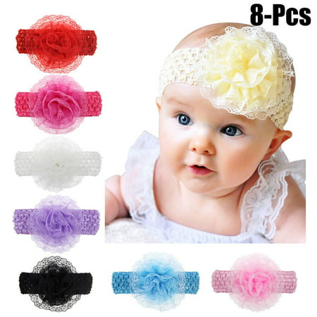 Coxeer 8PCS Lace Flower Baby Headband Solid Color Baby Hairband Infant Headwrap for Baby Girls Toddler (Silk Flower Headbands)