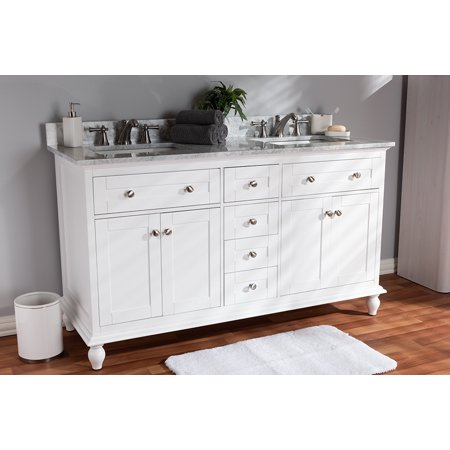 Baxton Studio Caroline 60-Inch Transitional White Finished Wood and Marble  Double Sink Bathroom Vanity