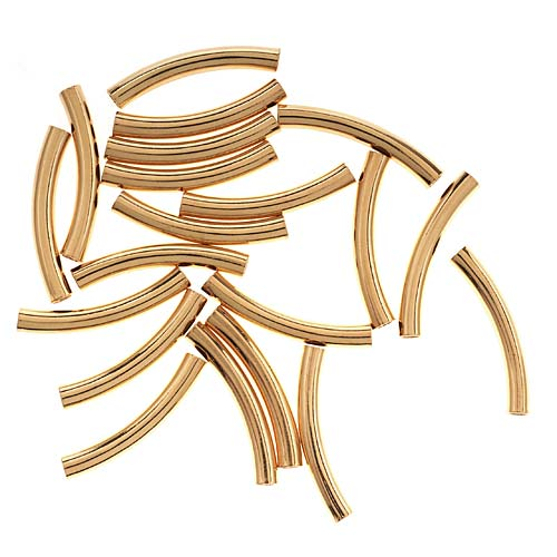 22K Gold Plated Curved Noodle Beads 3mm x 22mm (20)
