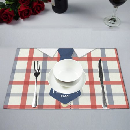 MKHERT Happy Father's Day with Blue Tie in Checkered Plaid Placemats Table Mats for Dining Room Kitchen Table Decoration 12x18 inch,Set of 4 ()