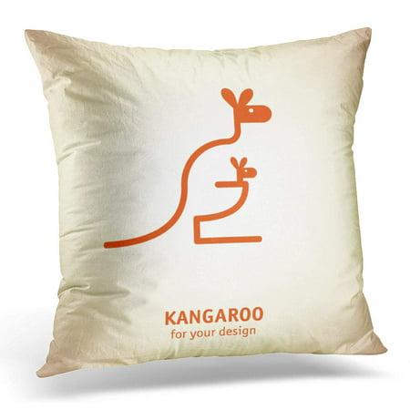 ECCOT Baby Kangaroo Family Australia Motherhood Symbol Sketch Pillowcase Pillow Cover Cushion Case 16x16 inch